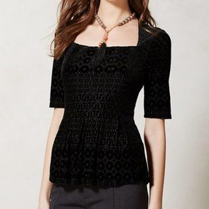 Anthro Meadow Rue Black Velvet Burn out Top